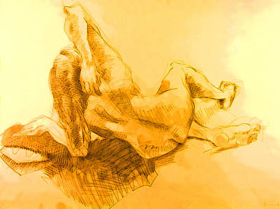 Hip Drawing - Female On Floor by Andy Gordon