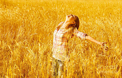 Female On Wheat Field Print by Anna Omelchenko