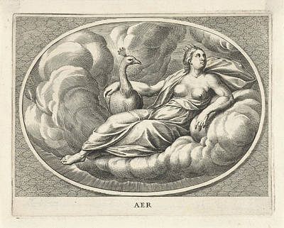 Hera Drawing - Female Personifcatie Element Of Air As The Goddess Juno by Cornelis Van Dalen (ii)