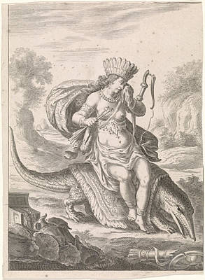 Crocodile Drawing - Female Personification Of America As A Woman With Headdress by Cornelis Van Dalen Ii
