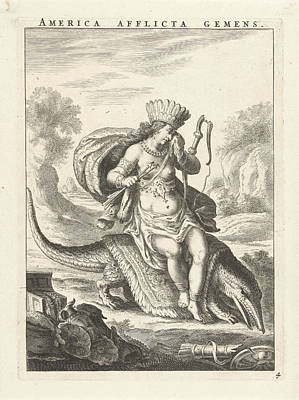 Female Personification Of America As A Woman With Headdress Art Print by Sitting On A Caiman And Cornelis Van Dalen Ii And Claes Jansz. Visscher Ii