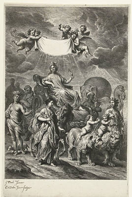 Female Personification Of Geography On Chariot Art Print by Cornelis Van Dalen Ii