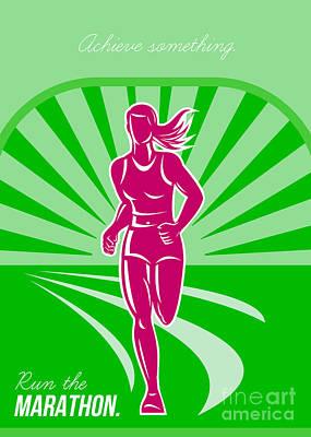 Jog Digital Art - Female Run Marathon Retro Poster by Aloysius Patrimonio