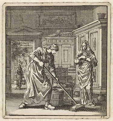 Scrubbing Painting - Female Scrubs The Floor With A Scrubbing Brush by Jan Luyken And Wed. Pieter Arentsz & Cornelis Van Der Sys Ii