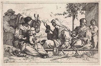 Spin Drawing - Female Spins Yarn, Jan Baptist De Wael by Jan Baptist De Wael