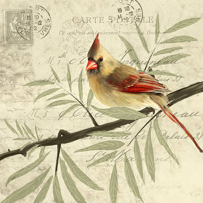 Cardinal Painting - Female Symphony by Lourry Legarde