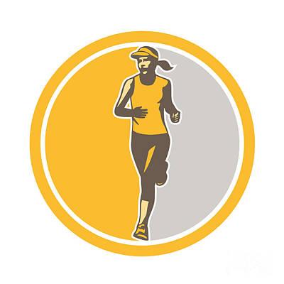 Jogging Digital Art - Female Triathlete Marathon Runner Circle Retro by Aloysius Patrimonio