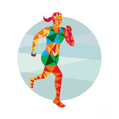 Triathlete Digital Art - Female Triathlete Marathon Runner Low Polygon by Aloysius Patrimonio