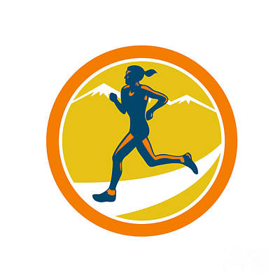 Jogging Digital Art - Female Triathlete Runner Running Retro by Aloysius Patrimonio