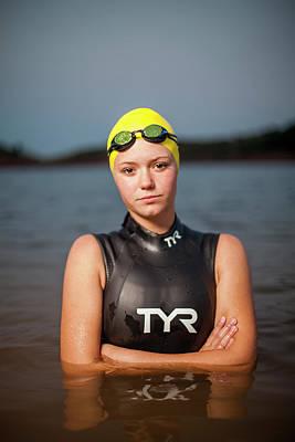 Female Triathlete Standing In Water Art Print