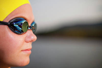 Female Triathlete With Her Swimming Art Print