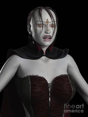 Female Vampire Portrait Print by Fairy Fantasies