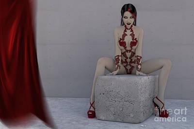 Female Vampire Red Lingerie Art Print