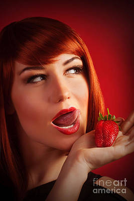 Female With Strawberry Print by Anna Om