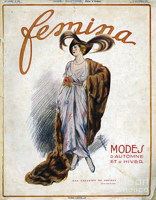 Nineteen-tens Drawing - Femina  1913 1910s France Cc Womens Fur by The Advertising Archives