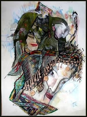 Nostalgie Mixed Media - Femmes by Aicha Hamdi