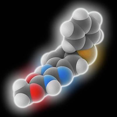 Fenbendazole Drug Molecule Art Print by Laguna Design
