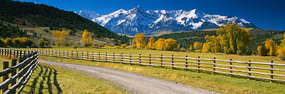 Gravel Road Photograph - Fence Along A Road, Sneffels Range by Panoramic Images