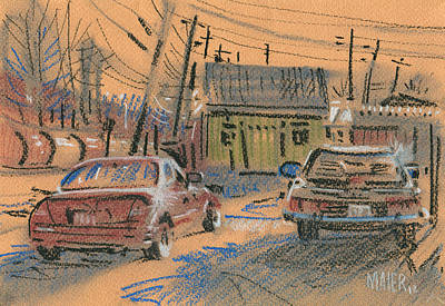 Plein Air Drawing - Fence Company by Donald Maier