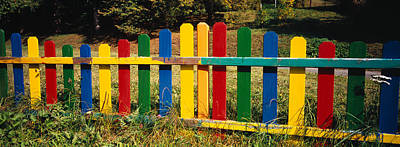 Multi Colored Photograph - Fence In A Park, Germany by Panoramic Images