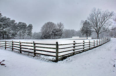 Fence In Snow Art Print