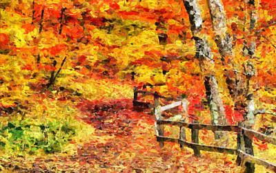 Nature Painting - Fence In The Woods by George Rossidis