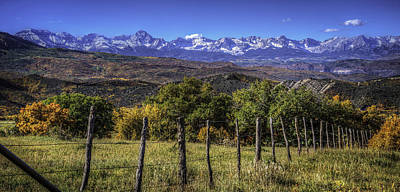 Photograph - Fence Line And Mountains by David Waldrop