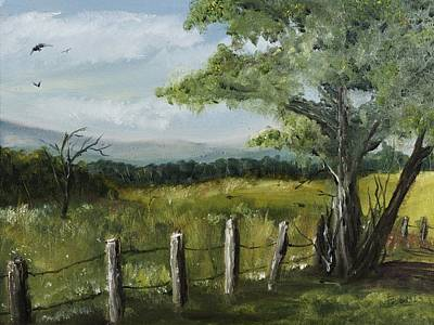Painting - Fence Line by Barry Jones