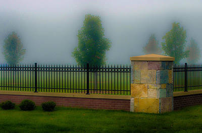 Photograph - Fence Pillar And Fog by Gene Sherrill