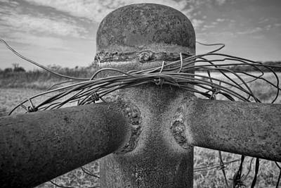 Photograph - Fence Post And Barbeb Wire  - Black And White Photography by Ann Powell