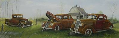 Old Junk Car Painting - Fence Post Fords by Whitey Thompson
