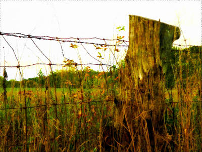 Woven Wire Digital Art - Fence Post by Patricia Erwin