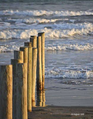 Photograph - Fence Posts Into The Sea by Allen Sheffield
