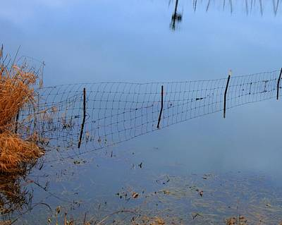 Jerry Sodorff Royalty-Free and Rights-Managed Images - Fence Waterline 20805 by Jerry Sodorff