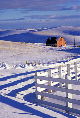 Contour Farming Photograph - Fenced Barn by Latah Trail Foundation