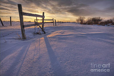 Snow Drifts Photograph - Fenceline At Sunset by Dan Jurak