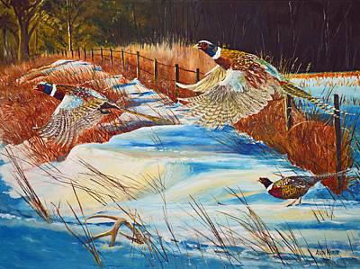 Upland Game Birds Painting - Fenceline Pheasants by Alvin Hepler