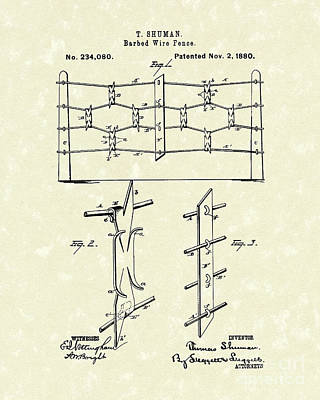 Barbed Wire Fences Photograph - Fencing 1880 Patent Art by Prior Art Design