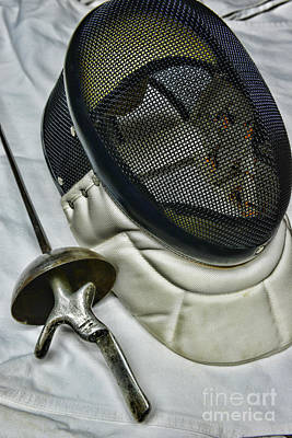 Fencing Mask And Foil Art Print by Paul Ward