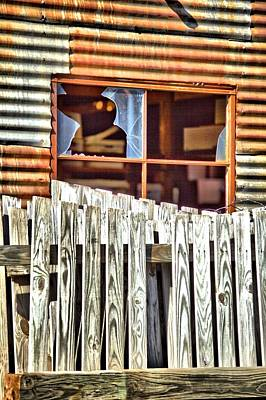 Photograph - Fencing Outside Broken Window by Gordon Elwell
