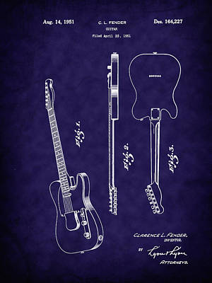 Photograph - Fender 1951 Electric Guitar Patent Art-b by Barry Jones