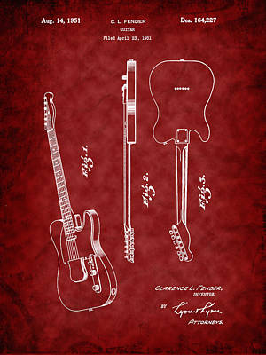 Photograph - Fender 1951 Electric Guitar Patent Art by Barry Jones