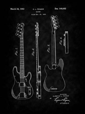 Drawing - Fender 1953 Bass Guitar Patent Art-bk by Barry Jones