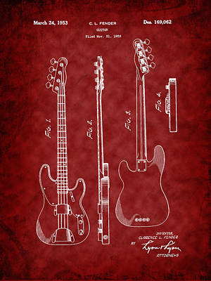Photograph - Fender 1953 Bass Guitar Patent Image by Barry Jones