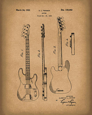 Rock And Roll Drawing - Fender Bass Guitar 1953 Patent Art Brown by Prior Art Design