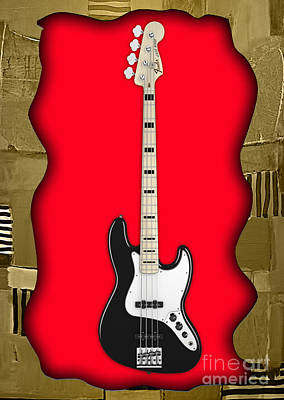 Guitar Mixed Media - Fender Bass Guitar Collection by Marvin Blaine