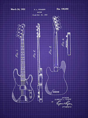 Invention Photograph - Fender Bass Guitar Patent-1953 by Barry Jones