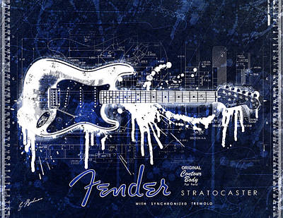 Fender Strat Digital Art - Fender Blueprint Washout by Gary Bodnar
