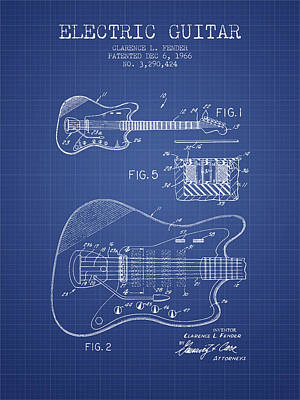 Bass Digital Art - Fender Electric Guitar Patent From 1966 - Blueprint by Aged Pixel