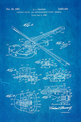 Leo Photograph - Fender Electric Violin Patent Art 1958 Blueprint by Ian Monk